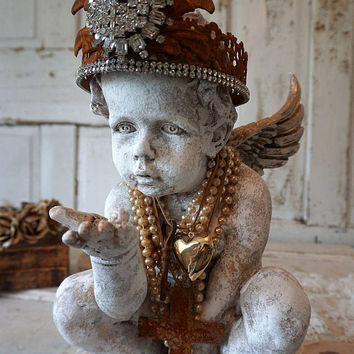 Cherub statue French Santos detail gold w/ ivory white distressed painted angel statuary ornately adorned home decor anita spero design