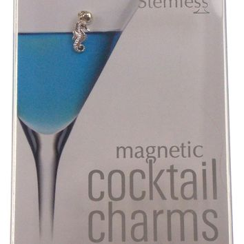 Going Stemless Nautical Wine Charms Cocktail Magnetic Set 6 Drink Anchor Crab