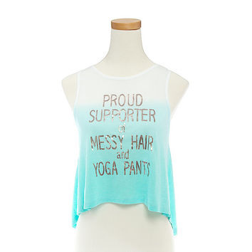 Messy Hair and Yoga Pants Ombre High-Low Tank Top