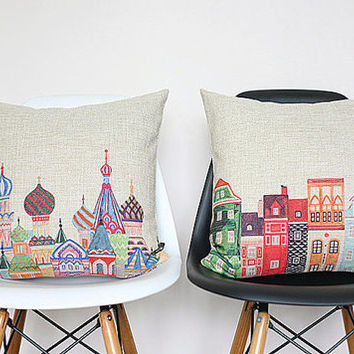 Colorful Russia Onion Domes Buildings Rooftop, Travel, Journey, Ready to use, Creative, Cozy, Modern Home Decor, Cushions
