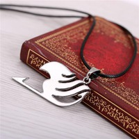 Fairy Tail necklace collier silver pendant fashion jewelry leather rope for men women necklaces &pendant
