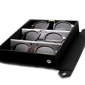 Limited Edition Vintage Inspired Round Horned Rim Sunglasses + Travel Case 8591
