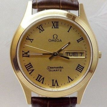 Vintage Omega Seamaster Roman Rose Gold Plated Day/Date Dial 1425Qrtz Mens watch