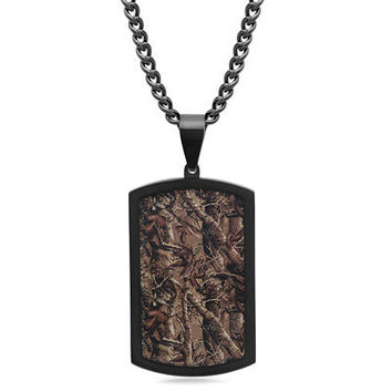 "Men's Camouflage Inlay Dog Tag Pendant in Stainless Steel with Black Ion-Plate - 24"" - Save on Select Styles - Zales"