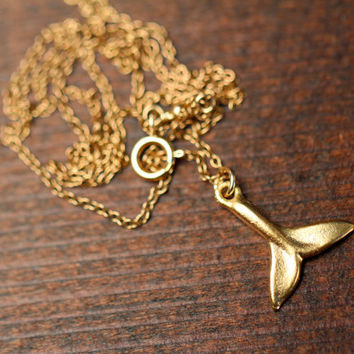 Gold whale tail necklace  whales tale  whale tail by BubuRuby
