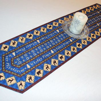 Winter Quilted Table Runner - Blue Ivory Moose and Bears Christmas Country Decor