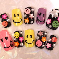 Nail Tips > Medium - Colorful Smily & Stars [S-M] - Worldwide shipping of Japanese nails, Deco den parts, Nail parts