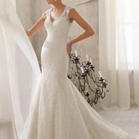 Blu by Mori Lee 5214 Lace Fit and Flare Wedding Dress
