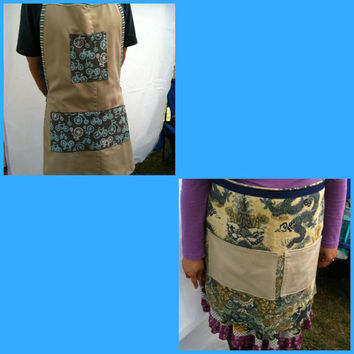 Upcycled Apron Bicycles Blue and Tan or Linen Chinese Dragon Your Choice of One