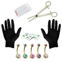 BodyJ4You Body Piercing Kit 14G Piercing Kit for Goldtone Belly Button Ring 15 Pieces
