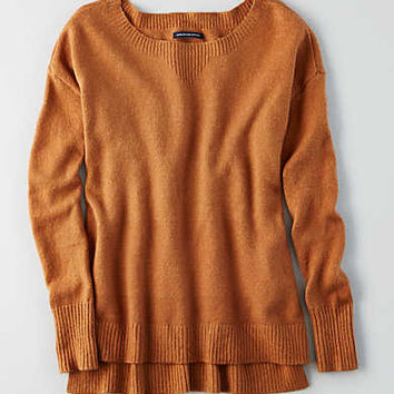 AEO Hi-Low Crew Sweater , Caramel