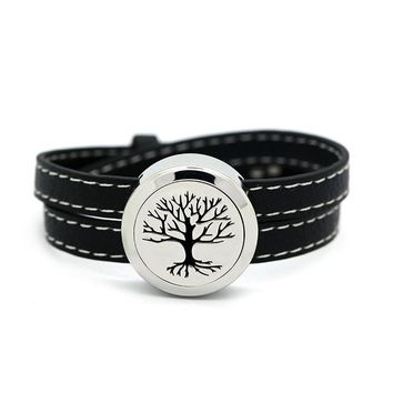 Tree of Life Essential Oil Diffuser Leather Bracelet