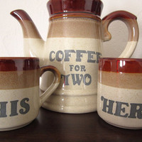Coffee For Two Set, Tea Kettle, His and Hers Mugs, Pitcher, Coffee Pot, Wedding Gift, Newlyweds, Gift for Newlyweds