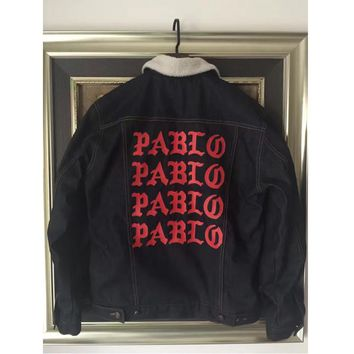 2016 New Winter Men KANYE WEST Print PABLO Red White motorcycle Denim jacket Coat Yeez