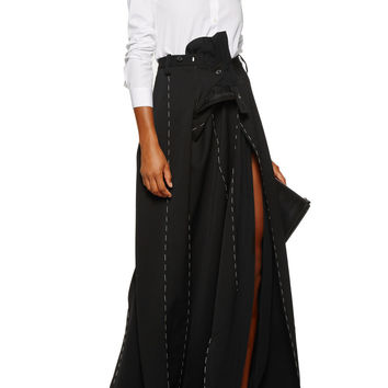 Maison Margiela Asymmetric wool and chiffon maxi skirt – 70% at THE OUTNET.COM