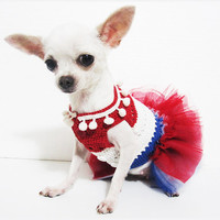 4th Of July Dog Tutu Dresses Patriotic Day Dog Clothes Red White and Blue Chihuahua Clothes DF16 Myknitt - Free Shipping
