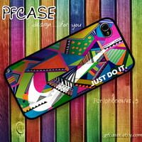 White Nike JUST DO IT with wonderful aztec style : Handmade Case for Iphone 4/4s , Iphone 5 Case Iphone