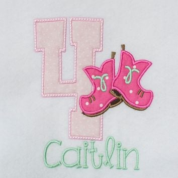 Cowgirl Boots Baby Onesuit - Personalized