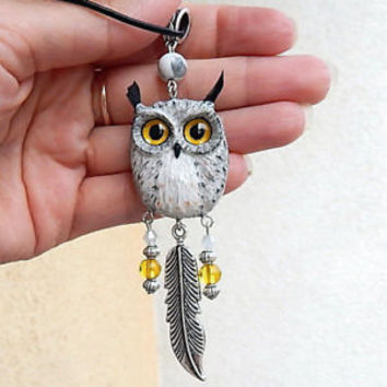 Eagle owl pendant of clay owl animal jewelry handmade owl totem owl charm