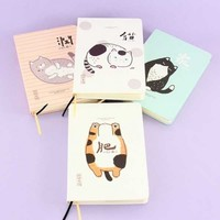 Japanese Chubby Neko Lined Hard Cover Notebook