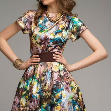 Floral Mini Dress Summer,Brown Print Short Flared Skater Dress Day.