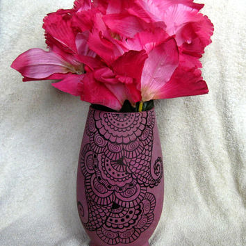 Hand Painted Vase Pink and Black Henna Flower Glass Art Handmade