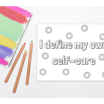 I Define My Own Self-Care Coloring Page - Busy and Minimalist Versions (PRINTABLE) /// Adult Coloring Book, Coloring Pages, Self-Love, diy