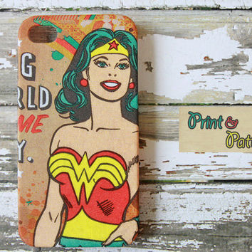 Iphone 4s Case - Wonder woman iPhone case - Iphone 4s cover, Iphone 4 Hard Case
