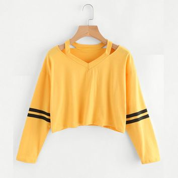 Womens Sweatshirts Hoodies Yellow Striped Hot Cropped Girls Autumn Pullovers Sexy Short Sweatshirt