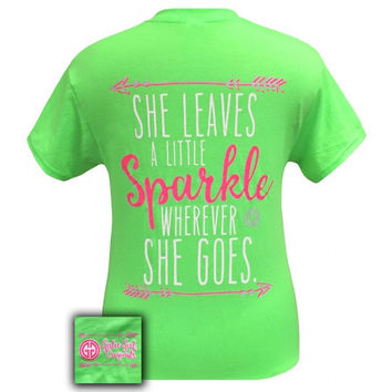Girlie Girl Southern Originals She Leaves A Sparkle Arrows Green T-Shirt