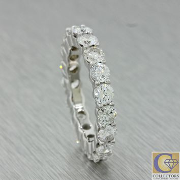 Modern Estate 14k White Gold 3.20ct Diamond 3mm Wide Eternity Wedding Band Ring
