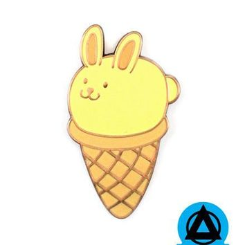 Bunny Ice Cream Cone Pin