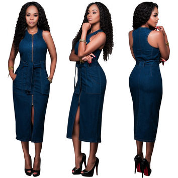 Blue Front Zip Tie-Waist Midi Denim Dress