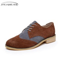Cow suede big woman US size 10 designer vintage flats shoes round toe handmade brown grey oxford shoes for women fur