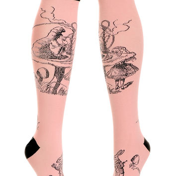 Alice & The Caterpillar Knee High Socks in Rose