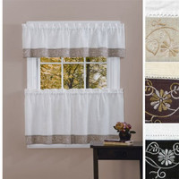 Oakwood Floral Embroidered Kitchen Valence  (Tier Pair Sold Separately)