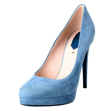 Fendi Women's Suede Blue Platform High Heels Pumps Shoes