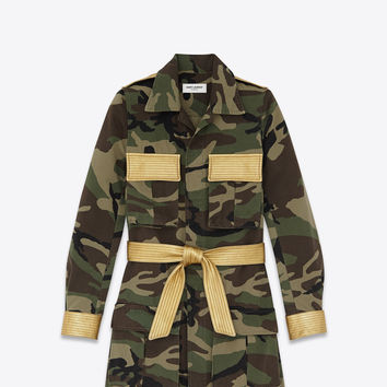 Saint Laurent Military Parka In Khaki Camouflage Printed Cotton Gabardine And Gold Metallic Leather | ysl.com