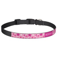 Pink Stars Pattern With Dog's Own Name Pet Collar