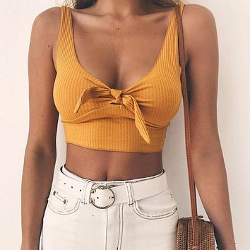 White Lace Up Crop Tops Camisole Women Summer Beach Tie Up Bow Female Cami Crop Top Sleeveless Short Tees