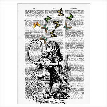 Vintage Dictionary Paper -Alice in Wonderland Butterflies Dictionary Art Print