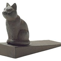 Vintage Cast Iron Cat Door Stop Wedge by Comfify | Lovely Decorative Finish, Padded Anti-Scratch Felt Bottom Protects Floors | in Rust Brown (Cat Door Stop CA-1507-12)