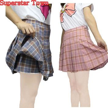 Pleated Skirts Womens High Waist Saia Plissada Harajuku Cheerleader Skater Skirt Shorts Girls School Skirt Uniform