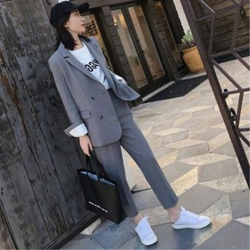 Work Pant Suits OL 2 Piece Sets Double Breasted Solid Blazer Jacket  Zipper Trousers Suit For Women Set Feminino Spring
