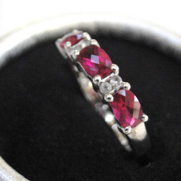 Sterling Glass Ruby Ring White Topaz Size 8