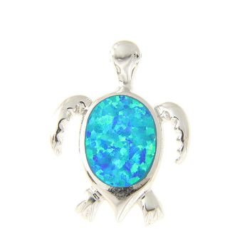 925 Sterling Silver Rhodium Hawaiian Honu Sea Turtle Opal Slider Pendant