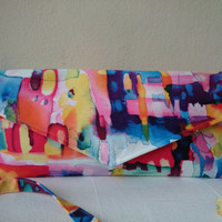 Arty, Pouch in satin, multicoloured...  Glamour and style, casual and trendy, hand made in France