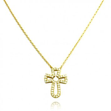 "TIONEER® 18K Yellow Gold Plated Christian Cross Necklace with 16""+2"" Extension Sterling Silver Chain"