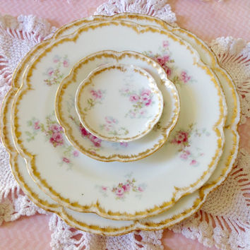 Antique Haviland Limoges french china set 4 pieces