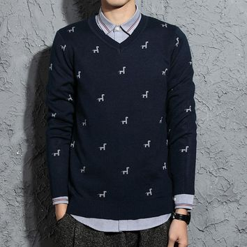 new men 's V - neck sweater men' s sweater British style jacquard sweater